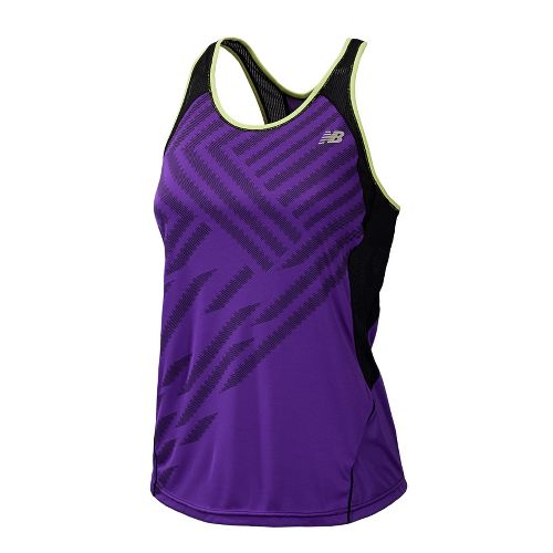 Womens New Balance Momentum Racerback Print Tanks Technical Tops - Amethyst L