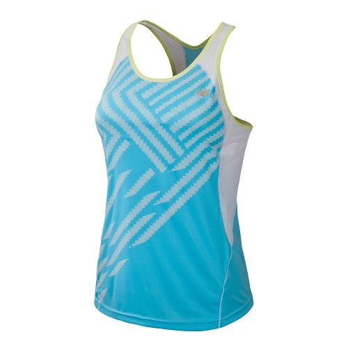 Womens New Balance Momentum Racerback Print Tanks Technical Tops - Poolside S