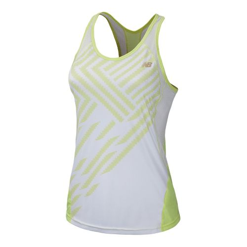 Womens New Balance Momentum Racerback Print Tanks Technical Tops - Sunny Lime L