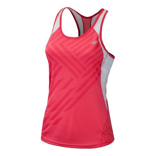 Womens New Balance Momentum Racerback Print Tanks Technical Tops - Watermelon S
