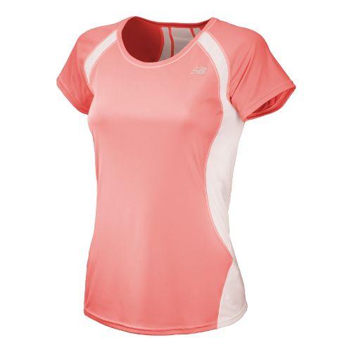 Womens New Balance Momentum Short Sleeve Technical Tops - Cosmic Coral L