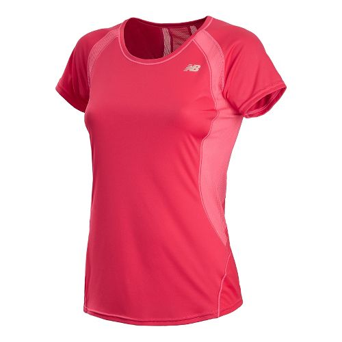 Womens New Balance Momentum Short Sleeve Technical Tops - Ruby L