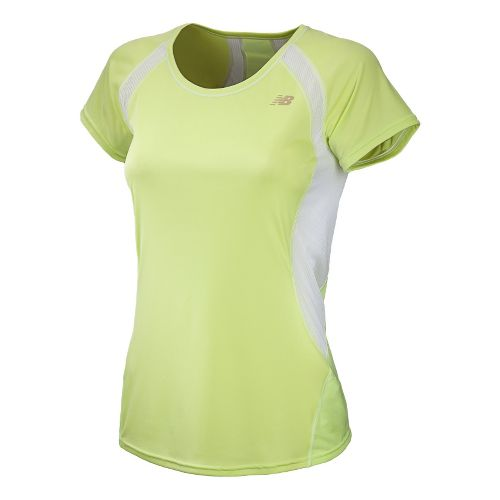 Womens New Balance Momentum Short Sleeve Technical Tops - Sunny Lime XL
