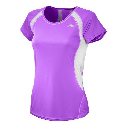 Womens New Balance Momentum Short Sleeve Technical Tops - Violet XS
