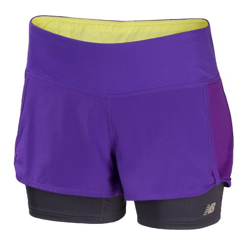 Womens New Balance Momentum 2-in-1 Shorts - Amethyst XS