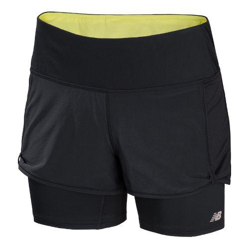 Womens New Balance Momentum 2-in-1 Shorts - Black/Watermelon S