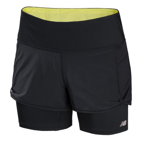 Womens New Balance Momentum 2-in-1 Shorts - Black/Watermelon XL