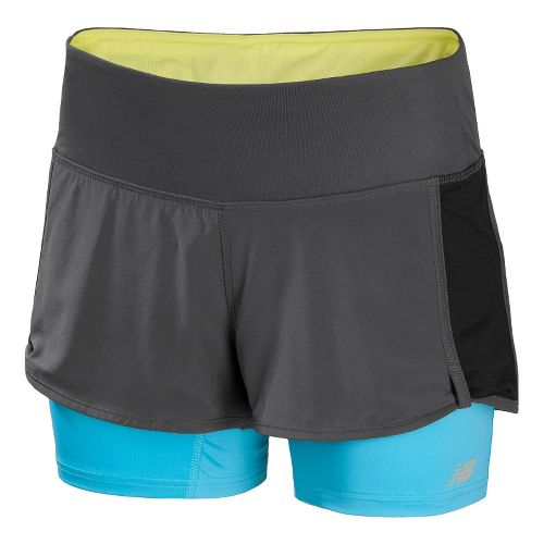 Womens New Balance Momentum 2-in-1 Shorts - Magnet/Poolside M