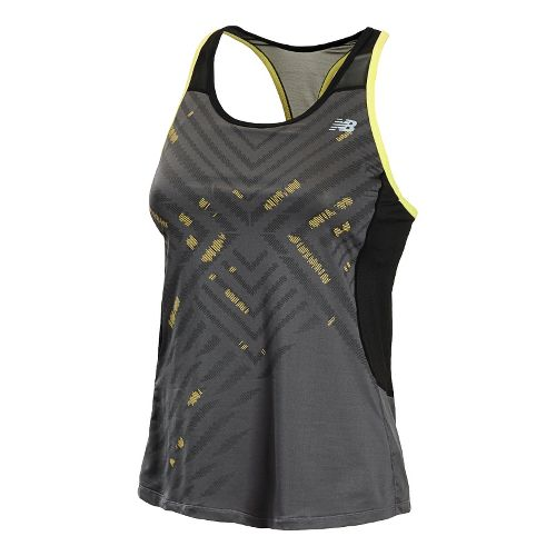 Womens New Balance Tonic Graphic Tanks Technical Tops - Black/Magnet M