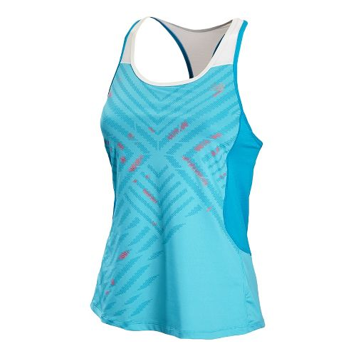 Womens New Balance Tonic Graphic Tanks Technical Tops - Poolside L