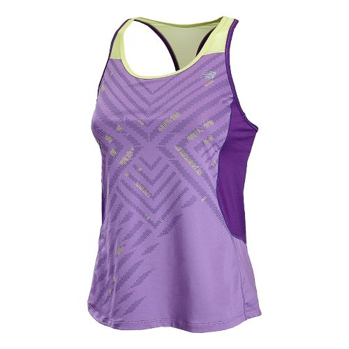 Womens New Balance Tonic Graphic Tanks Technical Tops - Violet S