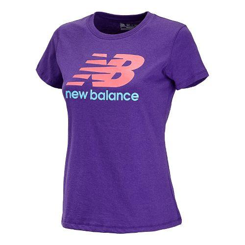 Womens New Balance Essentials Tee Short Sleeve Technical Tops - Amethyst XL