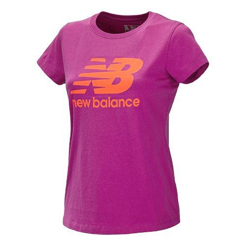 Womens New Balance Essentials Tee Short Sleeve Technical Tops - Poisonberry L