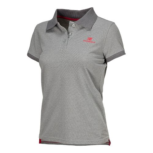 Womens New Balance Lightning Dry Pique Polo Short Sleeve Technical Tops - Heather Grey M ...