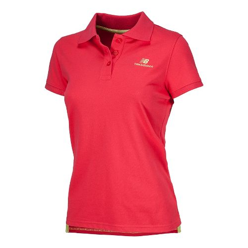 Womens New Balance Lightning Dry Pique Polo Short Sleeve Technical Tops - Ruby L