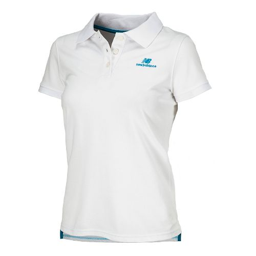 Womens New Balance Lightning Dry Pique Polo Short Sleeve Technical Tops - White S