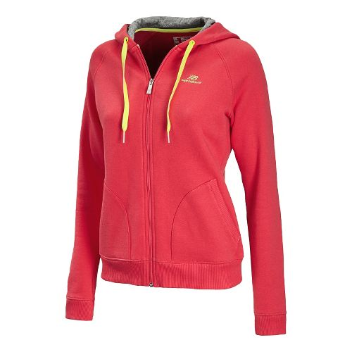 Womens New Balance Essentials Full Zip Running Jackets - Ruby S