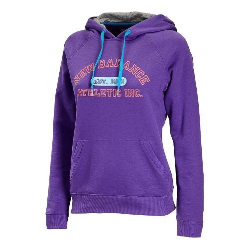Womens New Balance Essentials Pullover Hoodie Long Sleeve No Zip Technical Tops - Amethyst M ...