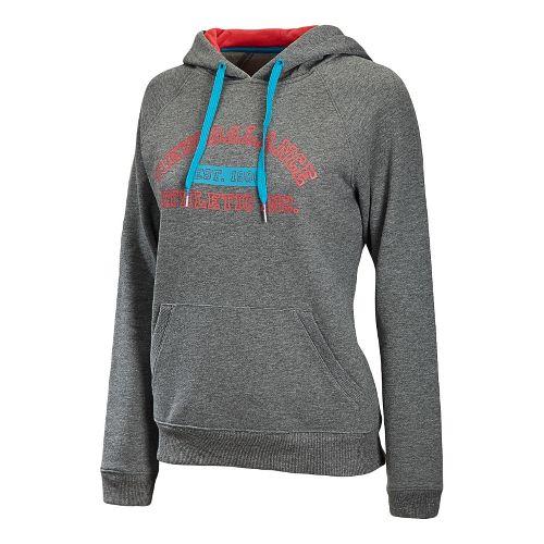 Womens New Balance Essentials Pullover Hoodie Long Sleeve No Zip Technical Tops - Heather Grey ...