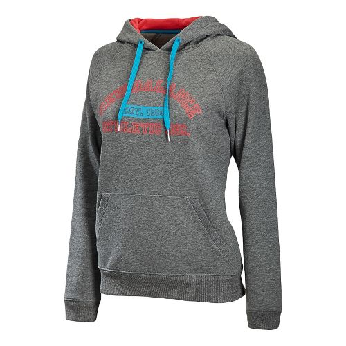 Womens New Balance Essentials Pullover Hoodie Long Sleeve No Zip Technical Tops - Heather Grey ...