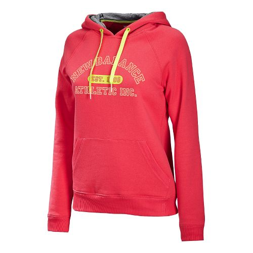 Womens New Balance Essentials Pullover Hoodie Long Sleeve No Zip Technical Tops - Ruby L ...