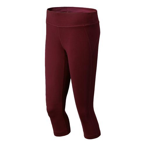 Womens New Balance Spree Capri Tights - Garnet XS