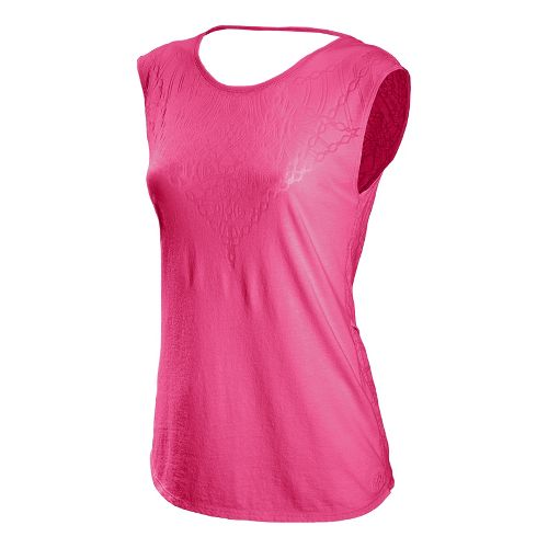 Womens New Balance Burnout Tee Tanks Technical Tops - Beetroot XS