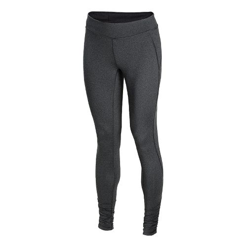 Womens New Balance Spree Shirred Fitted Tights - Black Heather XS