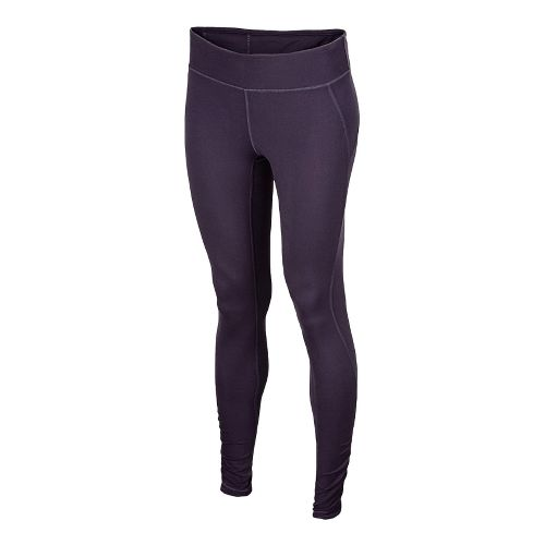 Womens New Balance Spree Shirred Fitted Tights - Elderberry L