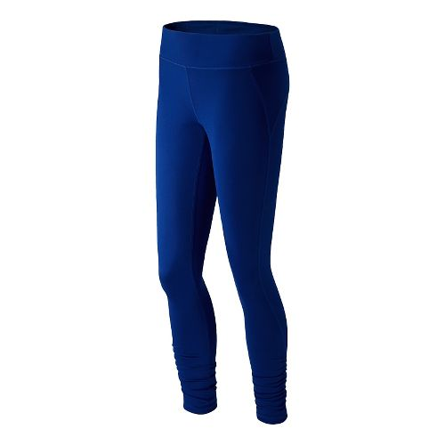 Womens New Balance Spree Shirred Fitted Tights - Marine Blue XS
