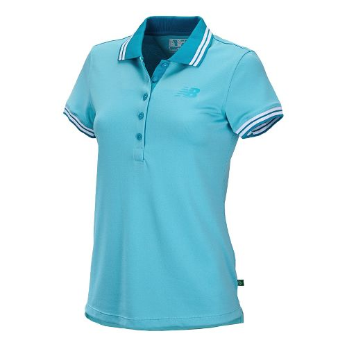 Womens New Balance Speed Polo Short Sleeve Technical Tops - Poolside S