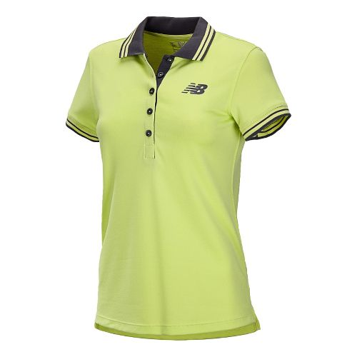 Womens New Balance Speed Polo Short Sleeve Technical Tops - Sunny Lime L