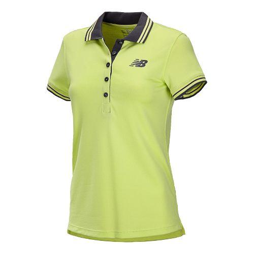 Womens New Balance Speed Polo Short Sleeve Technical Tops - Sunny Lime XL