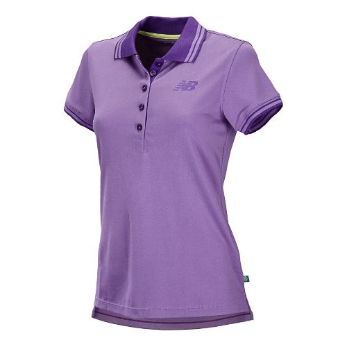 Womens New Balance Speed Polo Short Sleeve Technical Tops - Violet S