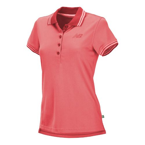 Womens New Balance Speed Polo Short Sleeve Technical Tops - Watermelon M