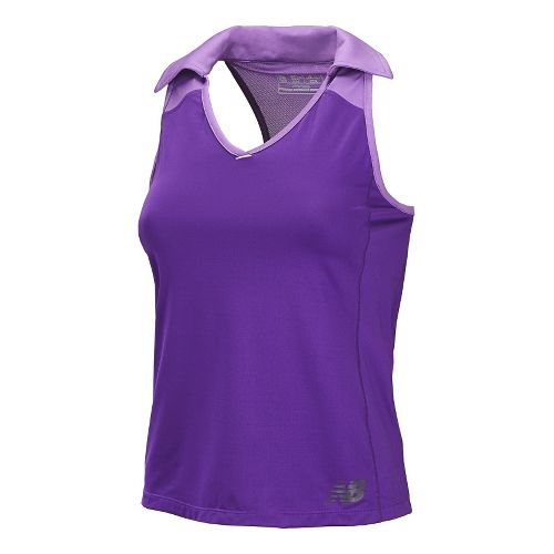 Womens New Balance Montauk Polo Sleeveless Technical Tops - Amethyst M