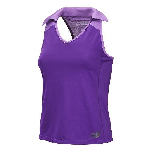 Womens New Balance Montauk Polo Sleeveless Technical Tops - Amethyst XL