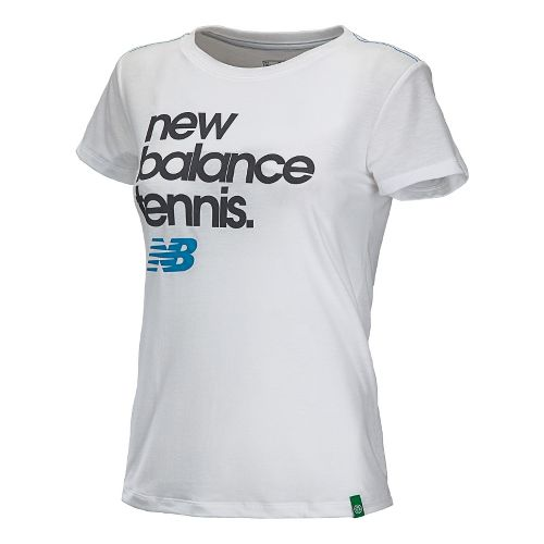 Womens New Balance Flipside Crew Short Sleeve Technical Tops - White/Blue Infinity XS