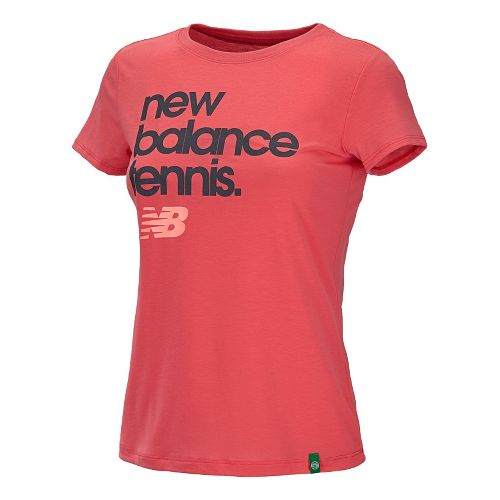 Womens New Balance Flipside Crew Short Sleeve Technical Tops - Watermelon/Ruby Red L