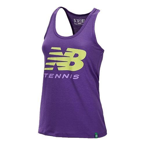 Womens New Balance Big Brand Tennis Tanks Technical Tops - Amethyst L