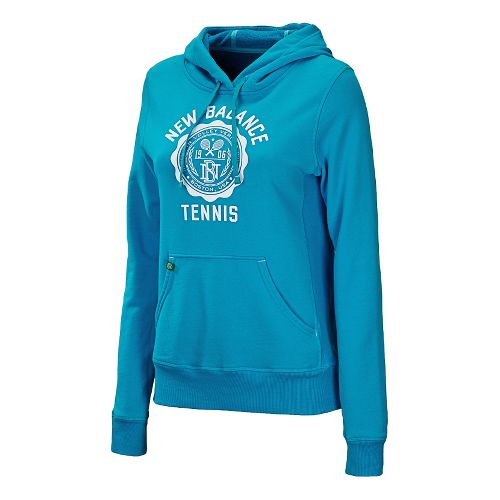 Womens New Balance Bookstore Hoody Long Sleeve No Zip Technical Tops - Blue Infinity S ...