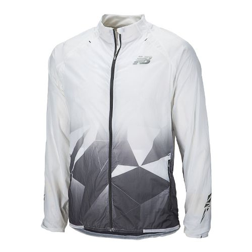 Mens New Balance Bolyston Running Jackets - White XXL