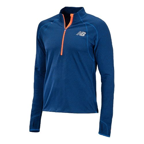 Mens New Balance Boylston Long Sleeve 1/2 Zip Technical Tops - Cobalt M