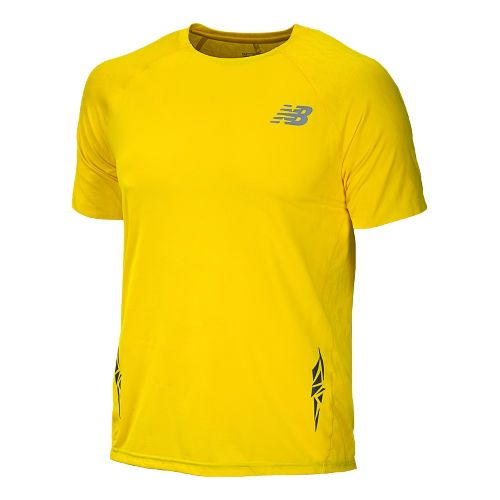 Mens New Balance Boylston Short Sleeve Technical Tops - Atomic Yellow S