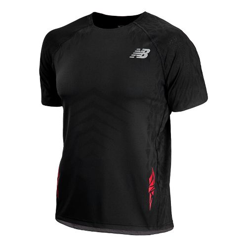 Mens New Balance Boylston Short Sleeve Technical Tops - Black XS