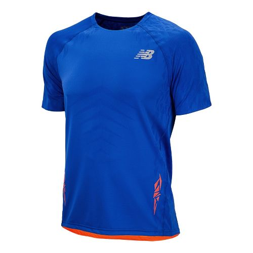Mens New Balance Boylston Short Sleeve Technical Tops - Cobalt L