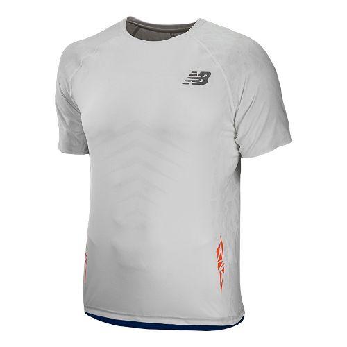 Mens New Balance Boylston Short Sleeve Technical Tops - White XL