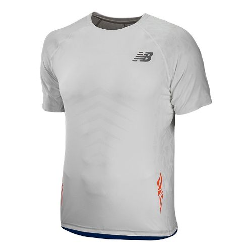 Mens New Balance Boylston Short Sleeve Technical Tops - White XS