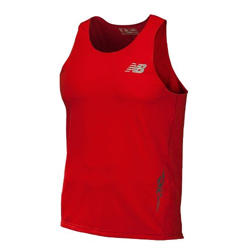 Mens New Balance Boylston Singlets Technical Tops - Velocity Red XS