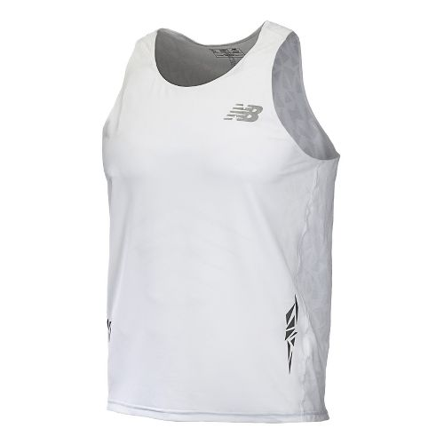 Mens New Balance Boylston Singlets Technical Tops - White M